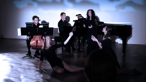 L-R: Cellist Patrick Moore, dancer Meg Brooker, pianist Kyle Evans, soprano Misha Penton. Photo by Jerry McCallum. Selkie, a sea tale. Composer Elliot Cole's haunting neo-Romantic chamber opera, a setting of fairytale poetry by soprano Misha Penton.