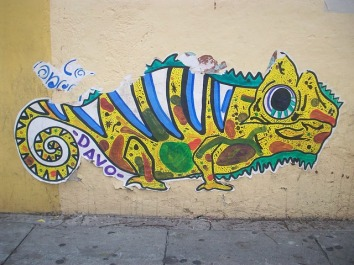 Colorful wheatpaste in Oaxaca. Mexico