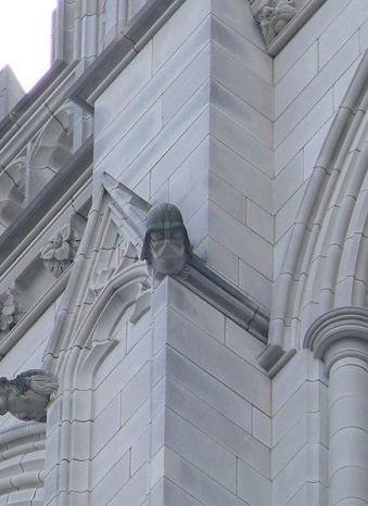 Darth Vader memorialized in a grotesque on the National Cathedral, Washington, D.C., USA