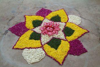 Flower petal Rangoli,  Chennai, India