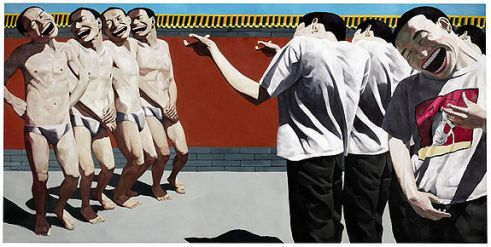 Yue Minjun, Execution, 1995 Inspired by the events at Tiananmen Square, but not a depiction of that horrible day.
