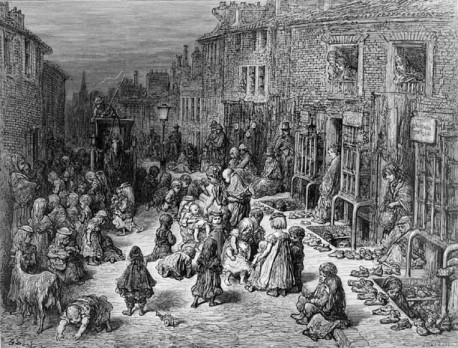 Seven Dials, by Gustave Dore, 1872, depicts a busy London street full of shoe shops and swarming with children.