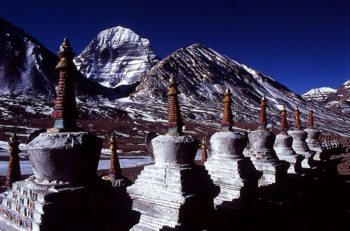 Stupas near the north face of Kailash, the sacred Crystal Mountain, Tibet © Yasunori Koide with GNU License