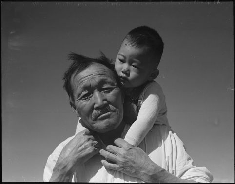 Grandfather and grandson of Japanese Ancestry at Manzanar Relocation Center, Manzanar, California