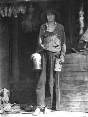 Miss Elsie Stewart, tomboy on cabin porch