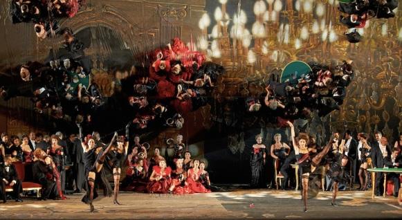 La Traviata, Sferisterio Opera Festival, Macerata, Italy. Mirrors mounted at an angle behind and above the set create a beautiful, impressionistic effect.