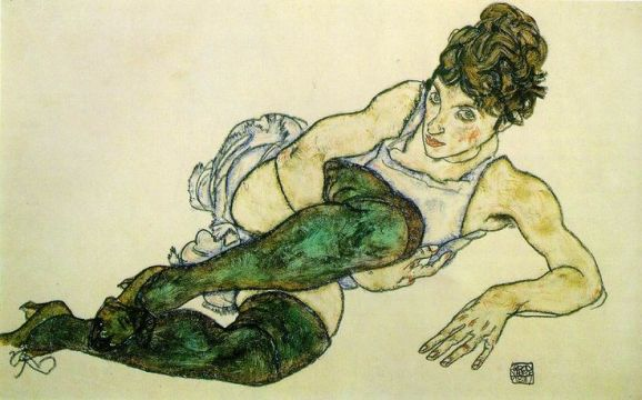 Reclining Woman, Green Tights Egon Schiele