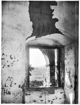 Window looking out on an exterior corridor of Mission San Antonio de Padua, California, ca.1906 Public Domain Image