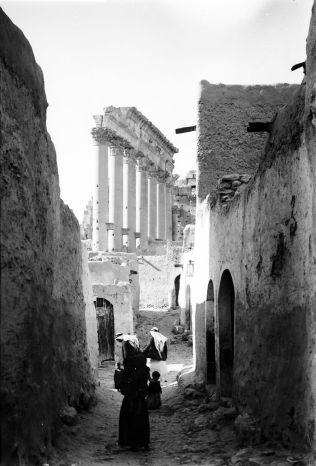 Tadmor Village within the Temple of Bel, Palmyra, early 20th Century Public Domain Image