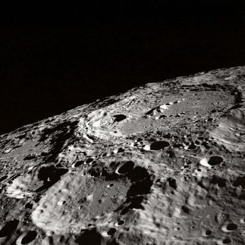 Terraced Wall Crater on the Lunar Limb, NASA