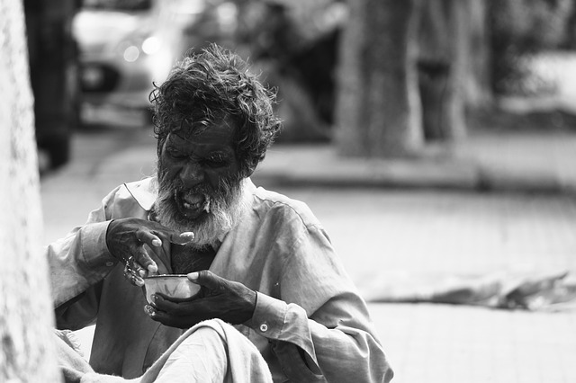 Old Indian Poor People Homeless Beggar Poverty