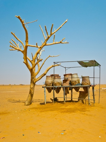 A set of traditional water jugs at a rest stop between Khartoum and Karima, Sudan.