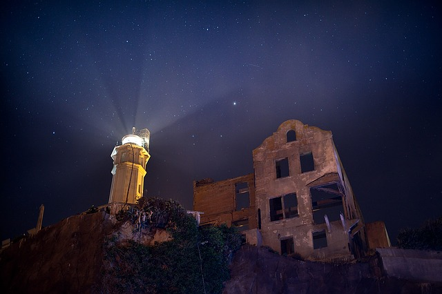 Sky Stars Night Alcatraz Lighthouse Ruins